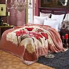 High Quality Thick Flower Bed Raschel Blanket Queen King Bed Double-layer Cover
