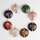 Amethyst Aventurine Round Rose Gold Tree of Life Chakra Pendant fit Necklace
