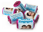 Personalised Mini Love Heart Sweets for Engaged favours,Spotty Blue with Image
