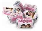 Personalised Mini Love Heart Sweets for Engaged with Image-Spotty Pink-Silver