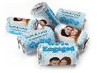 Personalised Mini Love Heart Sweets for Engaged with Image-Spotty Blue-SilveFoil