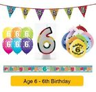 Happy 6th Birthday AGE 6 Party Balloons Banners Badges & Decorations Helium (1C)