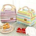 Insulated Cold Canvas Stripe Picnic Tote Carry Case Thermal Portable Lunch Bag R