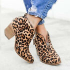 Women Mid Block Heels Ankle Leather Boots Casual Chunky Flat Booties Shoes Size