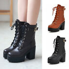 Front Buckle Lace-up Martin Boots Women's Ankle Platform High Heels Party Shoes