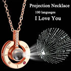 Silver Rose Gold 100 Languages Light I Love You Projection Pendant Necklace Gift image