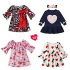 Valentine's Day Girls Dress Dog Love Heart Boutique Baby Toddlers Party Clothes