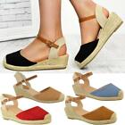 Womens Ladies Low Wedge Heel Summer Sandals Strappy Espadrilles Shoes Size New
