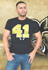 Black Saints 41 Nose ring Alvin Graphic T-shirt Stretch v-neck Game day wear top