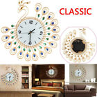 Retro Luxury Diamond Peacock Large Wall Clocks Metal Living Room Home Wall Decor