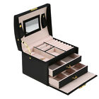 Travel Cosmetic Jewelry Box Necklace Ring Storage Case Organizer Display Mirror