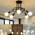 3-5 Head Industrial Iron Flush Mount Ceiling Retro Pendant Chandelier Light Lamp
