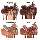 Western Saddle 10 12 13 Kids Youth Barrel Trail Roping Leather Horse Pony Tack