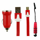 Trio Pack ( Micro USB, Car Charger, Mini Stylus) for Wiko Sunny 3 Plus
