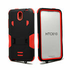 For HTC Desire 610 Rugged Hybrid Armor Case W/ Kickstand Tough Protective Cover
