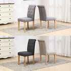 2x Fabric High Button Back Roll Top Seat Dining Room Chairs Set Wooden Oak Legs