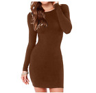 Mini-Stripe-Little-Plump-Soft-O-Neck-Women-Sexy-Casual-Long-Sleeve-Short-Dress-