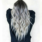 Women Gradient Grey Long Curly Wig Wavy Hair Heat Resistant Wig Synthetic NEW CZ