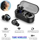 Bluetooth 5.0 TWS Stereo Earphones Mini Earbud Noise Cancelling IPX7 Gym Headset