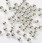 Smooth round silver plated hollow spacer beads jewellery making crafts