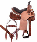 Used Youth Saddle 12 13 Roughout Brown Ranch Roping Barrel Western Horse Tack