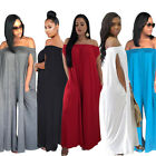 Women's Off Shoulder Casual Summer Wide Legs Loose Jumpsuit Rompers Plus Size N