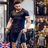 UK Men Summer Short Sleeve T Shirt Slim Fit Tops Clothing Bodybuilding Muscle Te