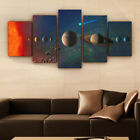 5Pc Space Solar System Galaxy Canvas Wall Art Home Decor Framed Made in the USA
