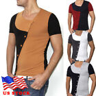 Stylish Men's Tee Shirt Slim Fit V-Neck Short Sleeve Muscle Casual Tops T Shirts image