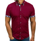 2019 NEW Men Short Sleeve Slim Fit Casual T-Shirt Button-down Top Shirts US