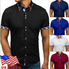 2019 NEW Men Short Sleeve Slim Fit Casual T-Shirt Button-down Top Shirts US image