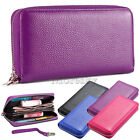 Leather Clutch Wallet Card Holder Purse Hand Bag Case For Small Large Cell Phone