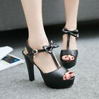 Lady Womens High Block Heel Bowknot Open Toe Sweet Sandals Shoes Plus Size New