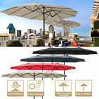 15ft Patio Twin Umbrella Double-sided Market Crank Outdoor Garden Parasol Shade