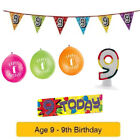 Age 9 - Happy 9th Birthday Party Balloons Banners & Decorations