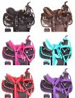 "Size 10"" 12"" Pony Youth Kids Western Synthetic Show Trail Saddle Tack Set Pad"