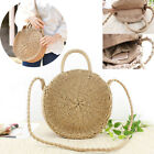 Us Stock Women Straw Retro Bag Rattan Round Handbag Vintage Knitted Purse Gifts