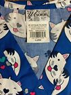 SCRUB TOP SIZES: M, XL HAPPY CATS BRAND NEW NURSE MEDICAL VET CNA WORK UNIFORM