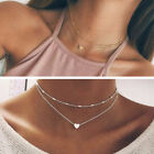 Necklace Double Layer Heart Chain Hot Multilayer Choker Pendant Gold Silver New