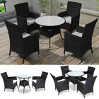 Poly Rattan Furniture Garden Dining Set Table And Chairs Outdoor Patio Black