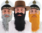 Mens Grey Ginger Black Fake Beard Hair Moustache Fancy Dress Costume Outfit