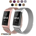 Set of 2 Stainless Steel Magnet Loop Watch Sport Band Strap For Fitbit Charge 3