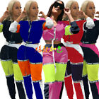 Sport SUIT Crop zipper Hooded TOP+string waist Pant patchwork color block print