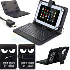 "For 9.7"" 10"" 10.1"" inch Tablet Leather Printed Stand Case Cover w/ Keyboard USA"