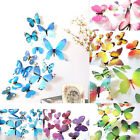 12pcs Pvc Wall Stickers Home Party Decoration 3d Butterfly Rainbow Decal Decor O