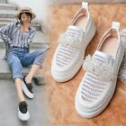 Womens 2019Spring/Summer New Fashion Round Toe Wedge Platform Shoes Mesh Loafers