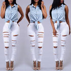 Womens Skinny Jeans Ripped Casual Stretch Slim Denim Pencil Long Pant Trousers