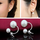 Crystal Ball Pearl Ear Stud Double Side Women's Simulated Earrings Jewelry Gifts