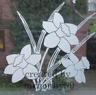 """FROSTED GLASS DAFFODIL VINYL STICKER. FLOWER DECAL FOR WINDOWS, SHOWERS 9"""""""