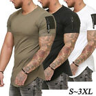 Men's Slim Fitness Muscle Shirt Gym Designer Plain T-Shirt Curved Hem Tee Top US image